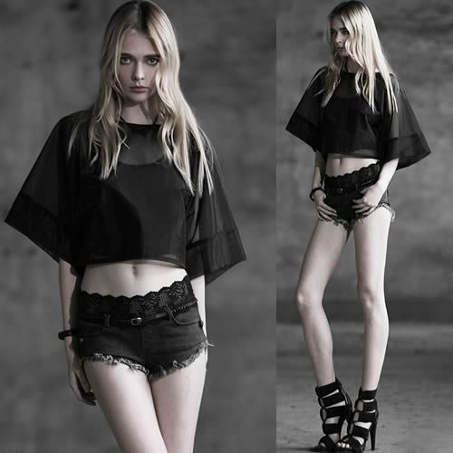 women black sheer modern vintage goth fashion kimono shirt