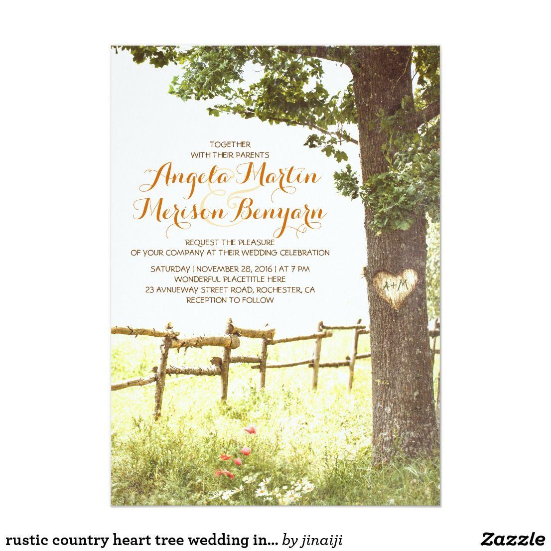 rustikale Landherzbaum-Hochzeitseinladung Einladung | Karte vorlagen ...
