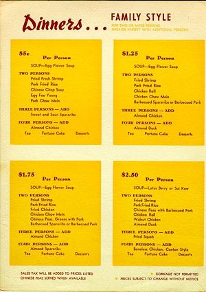 The Celestial Restaurant Chinatown Circa 1950s Cantonese Food Chinese Restaurant Chinese Food Menu