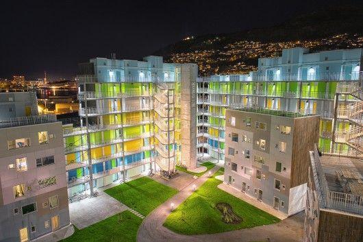 Grønneviksøren Student Apartments  Architects: 3RW Arkitekter Location: Bergen, Norway Area: 21750.0 sqm Year: 2013