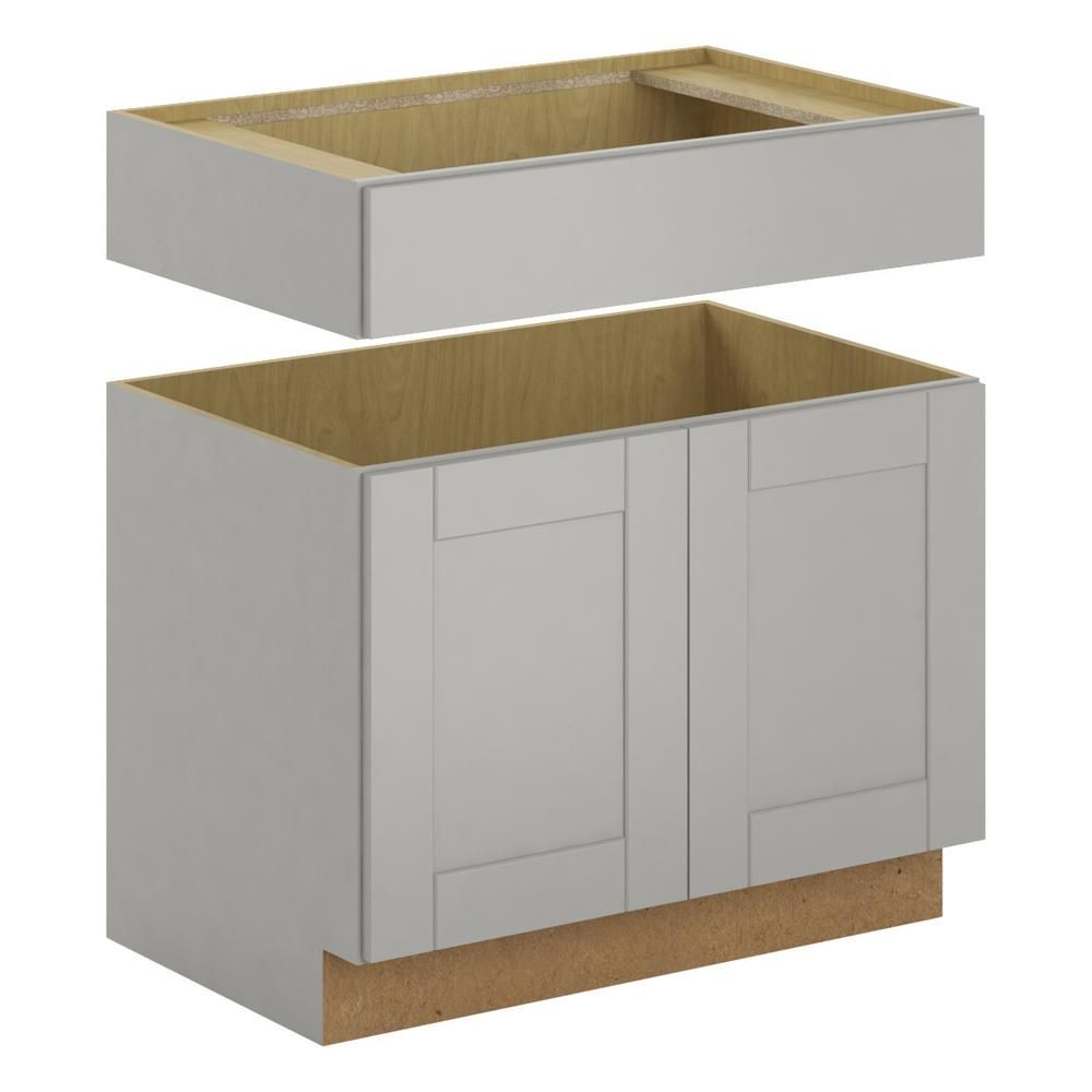 Hampton Bay Princeton Shaker Assembled 36x34 5x24 In Accessible Sink Base Cabinet In Warm Gray Bsa36 Pwg The Home Depot Warm Grey Wood Door Frame Base Cabinets