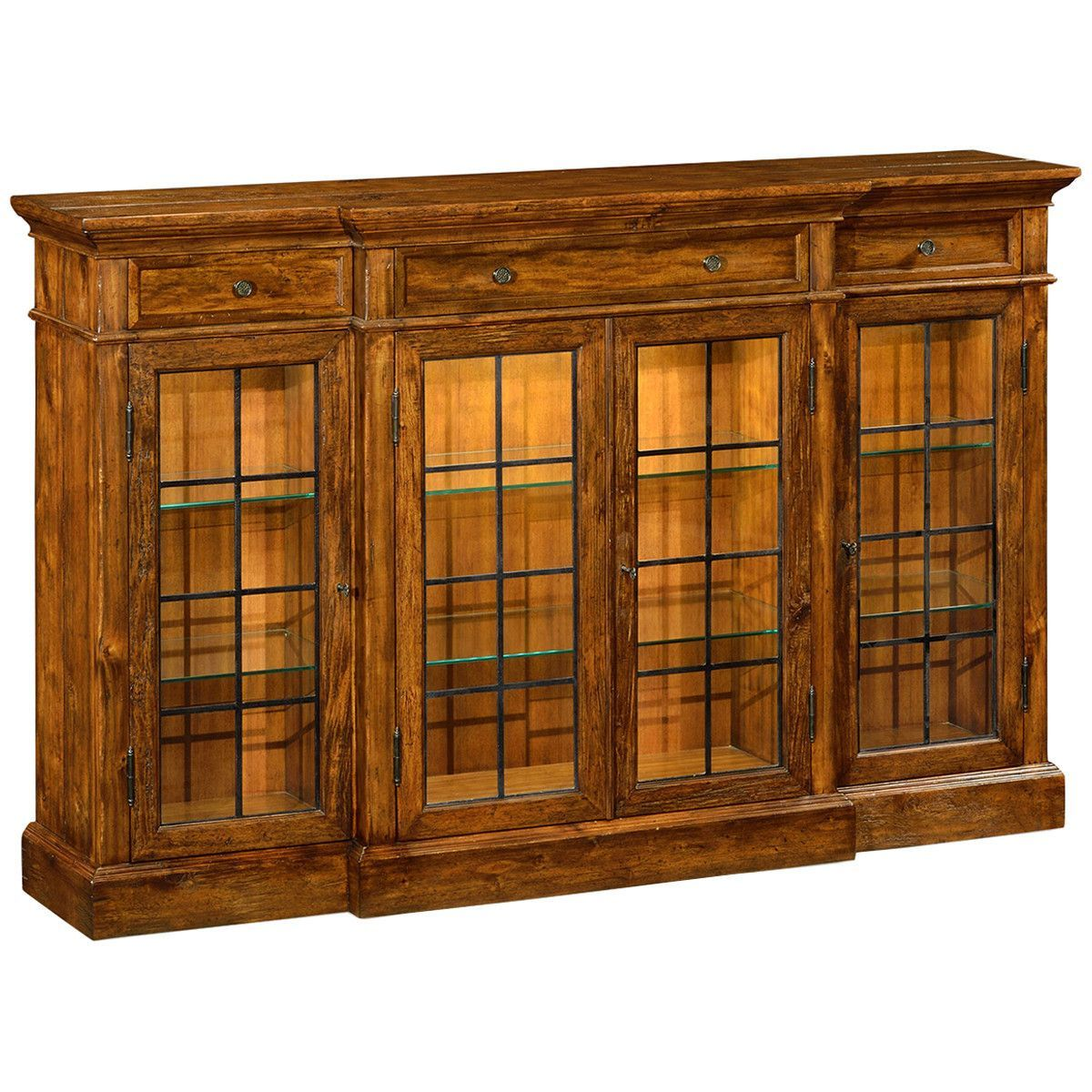 Jonathan Charles Four Door China Display Cabinet In Antique