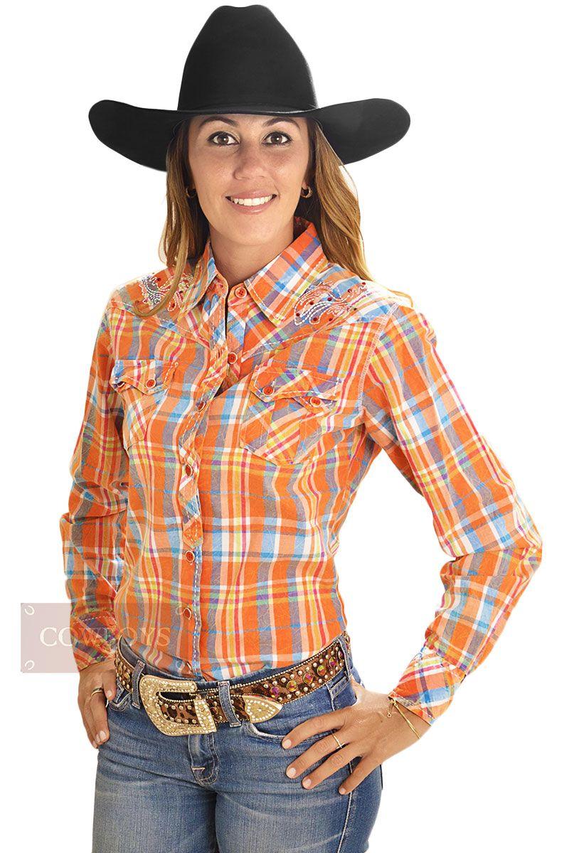 27d12799b Camisa Feminina Cowgirl Up Manga Longa Bordada Xadrez Camisa Feminina  Cowgirl Up