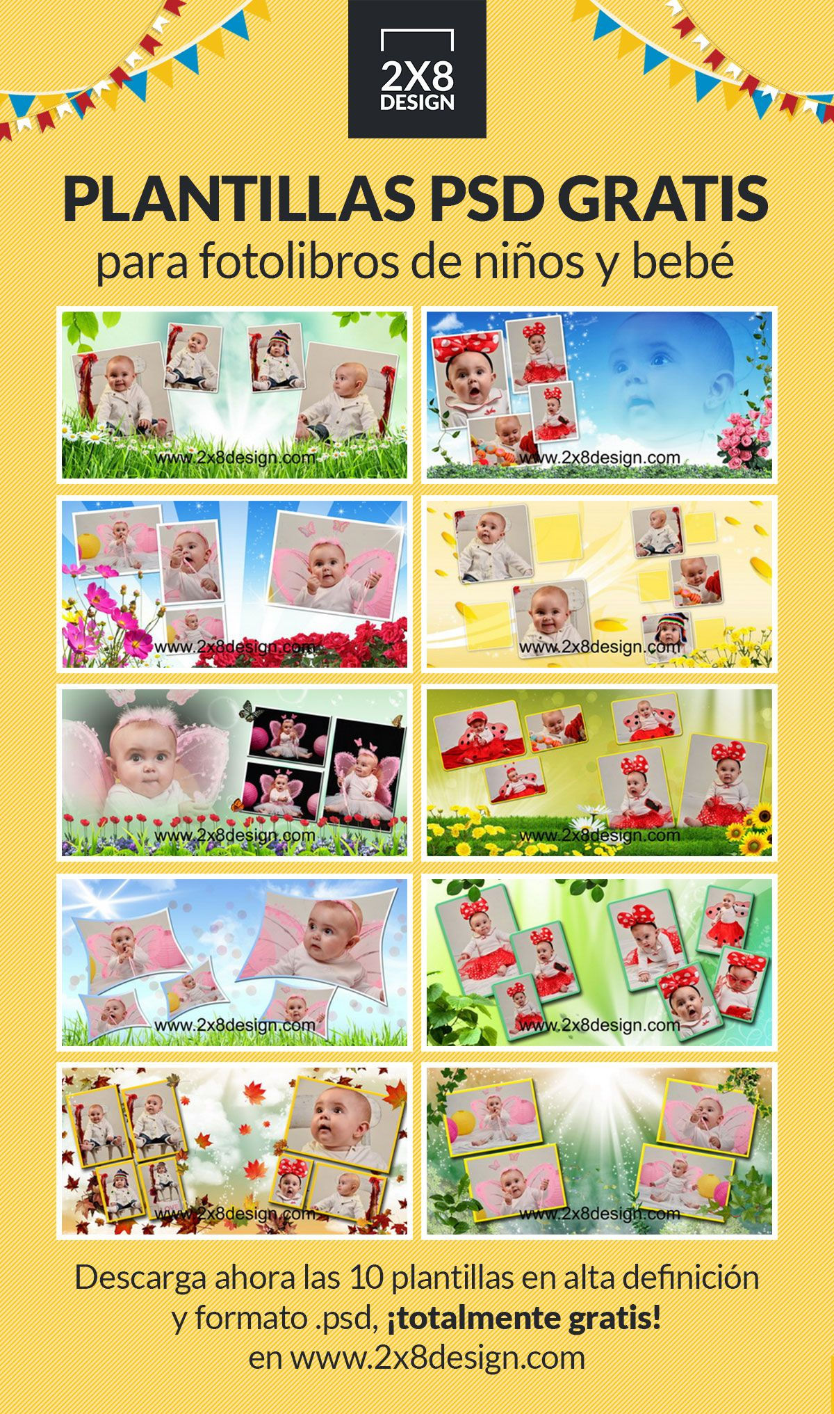 Plantillas PSD para fotolibros de niños y bebé, totalmente gratis ...