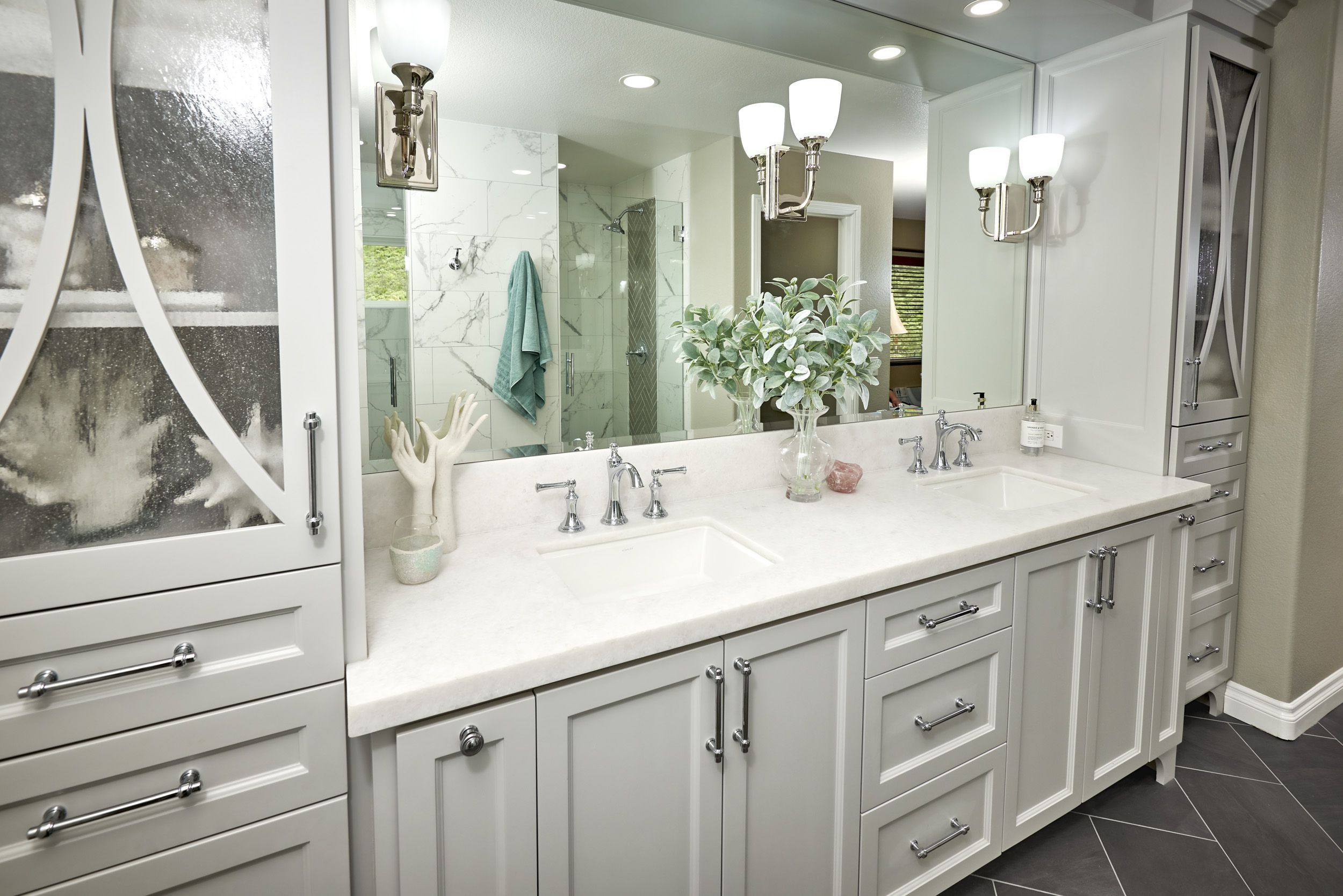 Create A Spa Like Bathroom With Soft Gray Walls A Clawfoot Tub Striking Herringbone F White Wood Kitchens White Laminate Flooring Gray Wood Laminate Flooring
