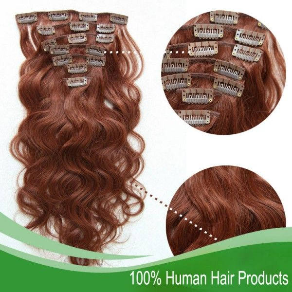 7pcs/set,Red Color #33 Body Wave, Top Grade Clip in Human Hair Extensions, Clip on Hair #humanhairextensions