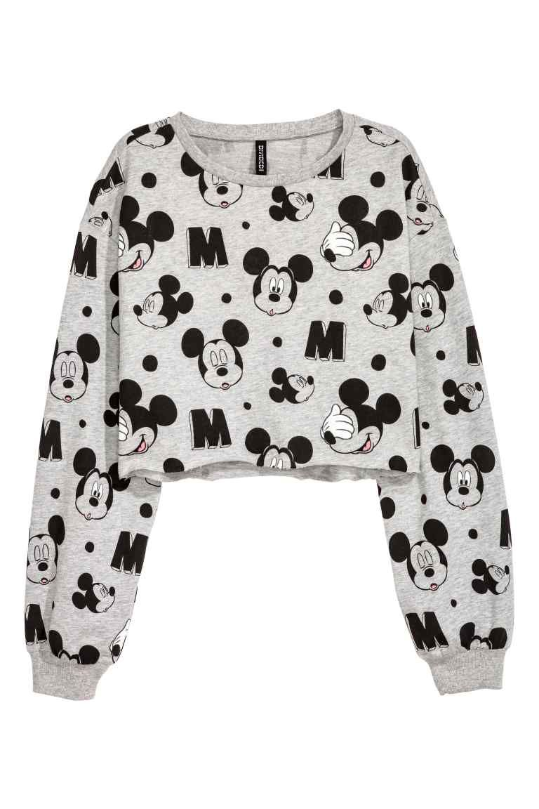 ebad2f003081 Sweat coupé - Gris chiné Mickey - FEMME