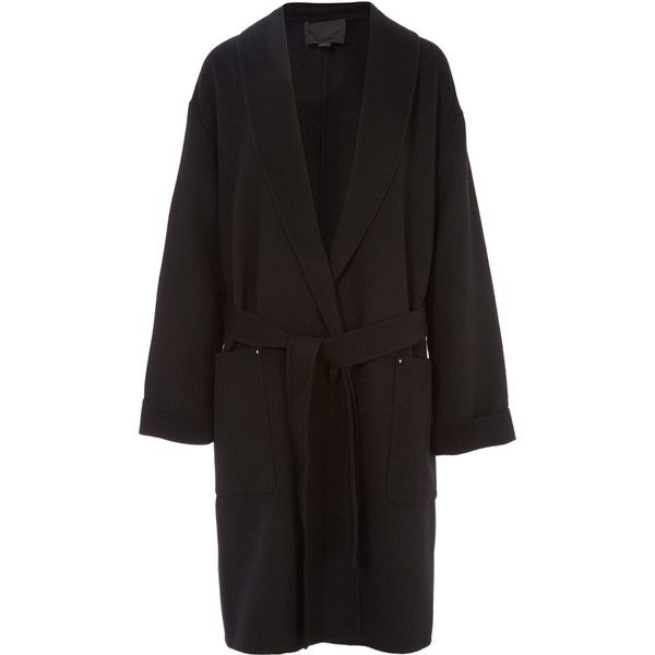 Alexander Wang Belted Robe Coat with Patch Pockets (73,085 MKD) ❤ liked on Polyvore featuring outerwear, coats, belted coat, alexander wang coat, alexander wang and tie belt