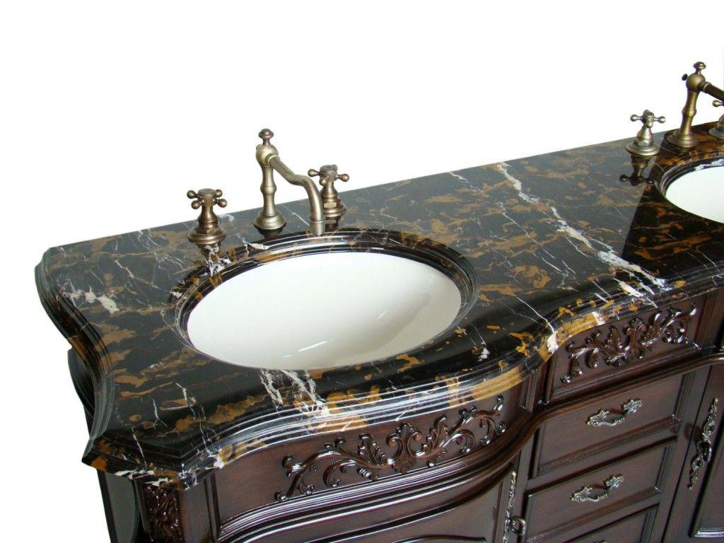 Inch Antique Double Bathroom Vanity Marble Top Bathroom