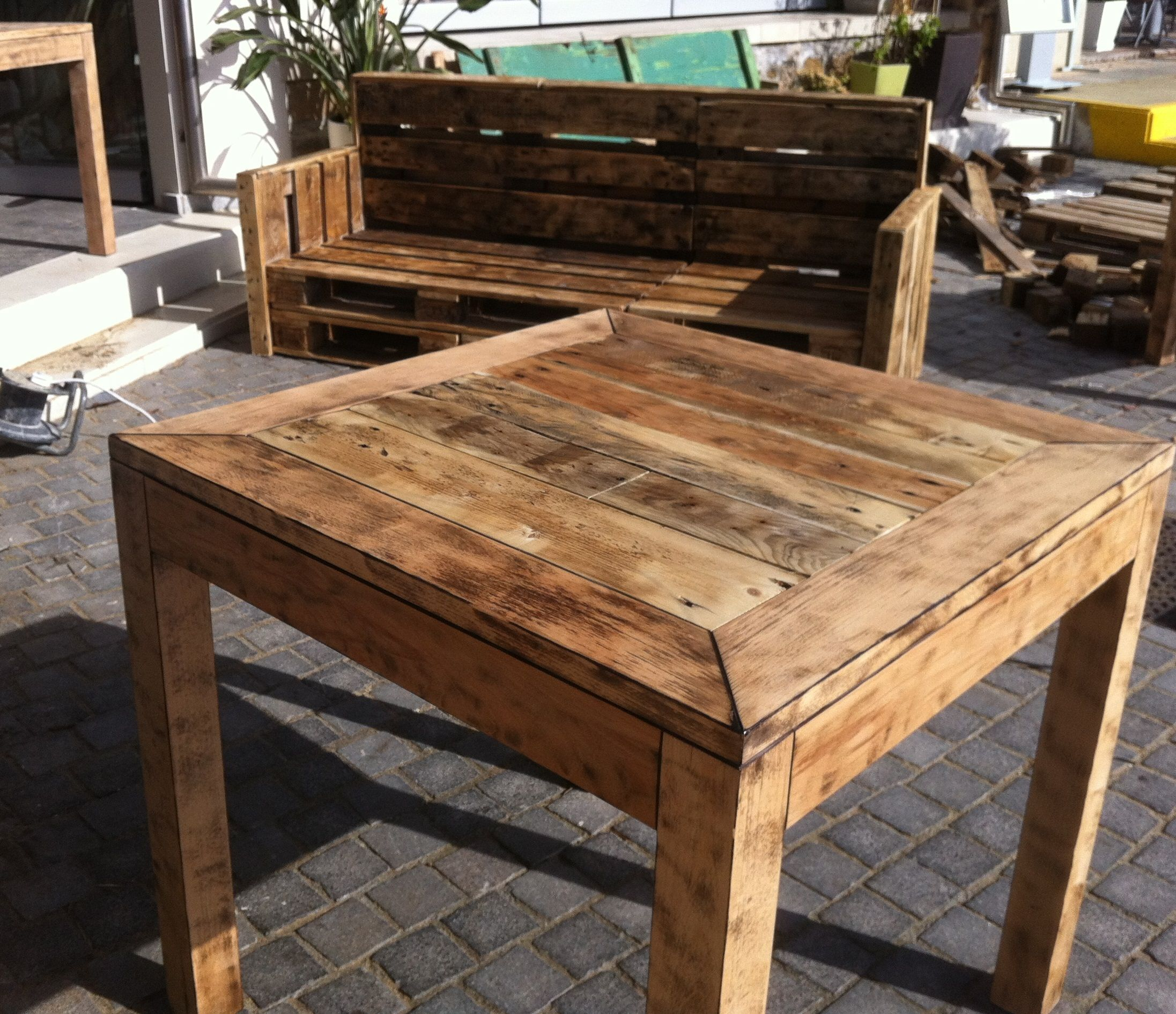 terrace couch and table made from pallet wood  :)