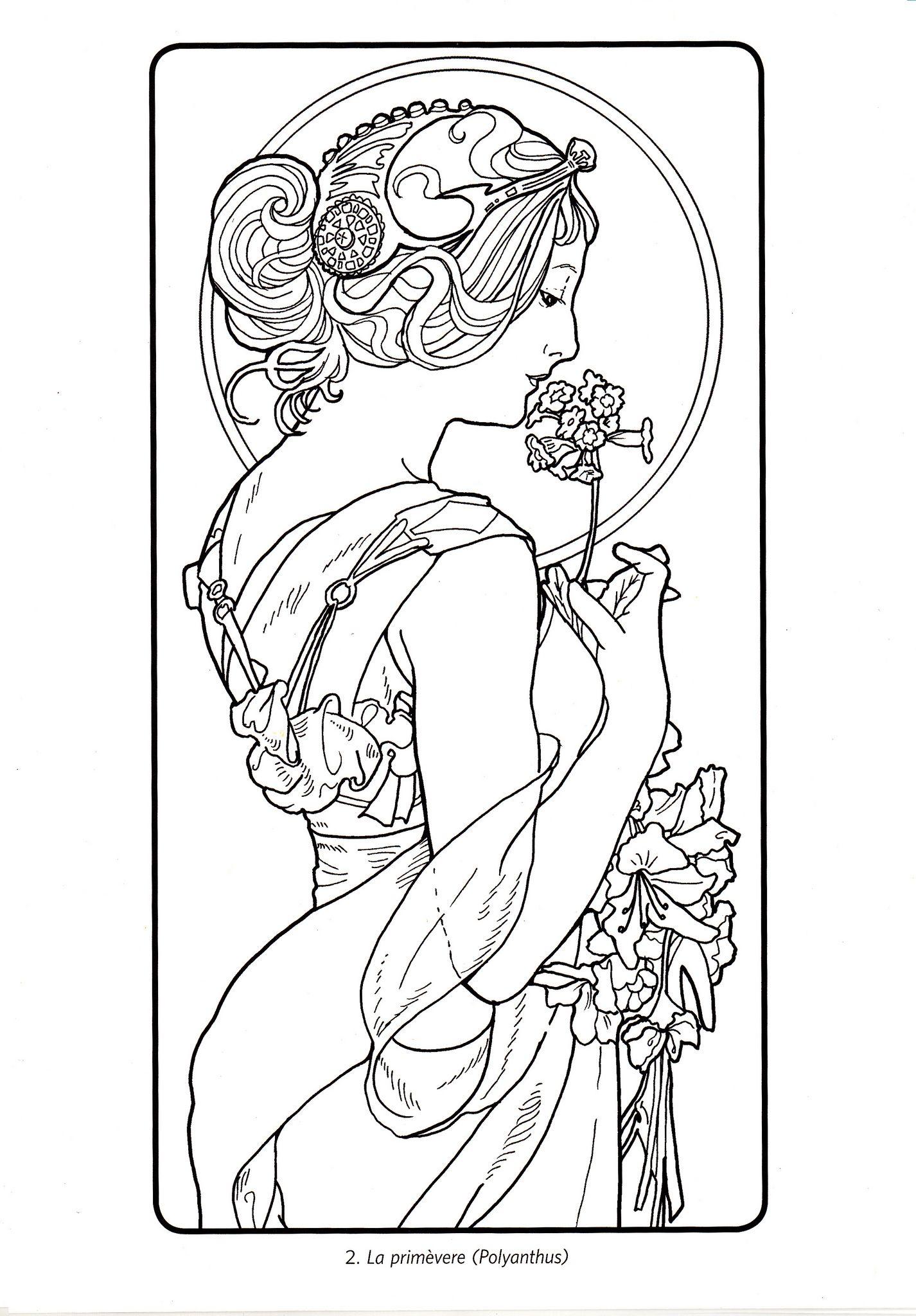adult coloring coloring pages pencil art art nouveau art deco historical women alphonse mucha stencil angels