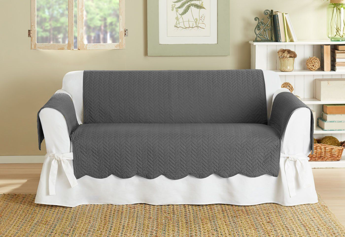 Vintage Washed Chevron Loveseat Furniture Cover