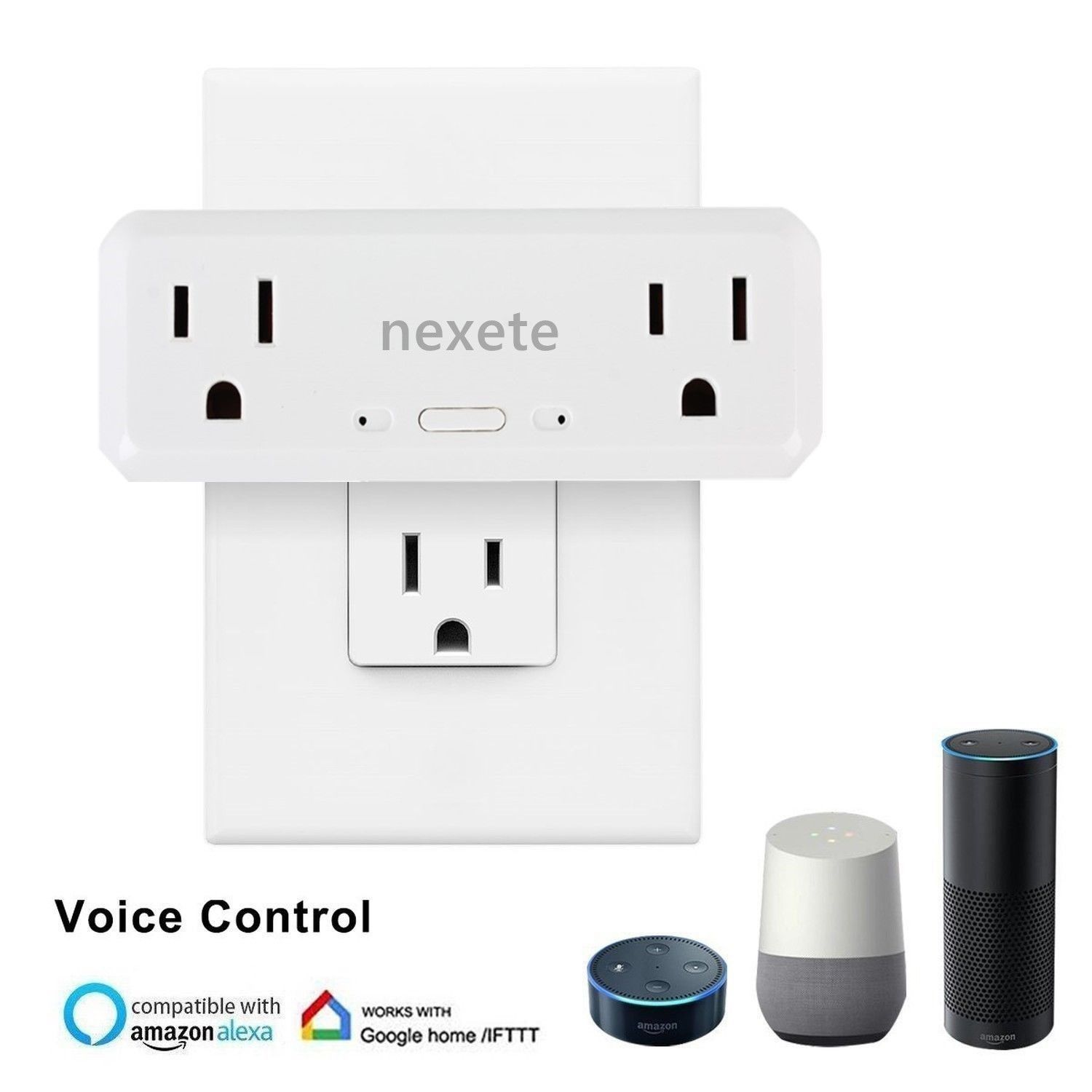 Smart Wifi 2 in 1 Plug Outlet Swtich Work With Echo Alexa
