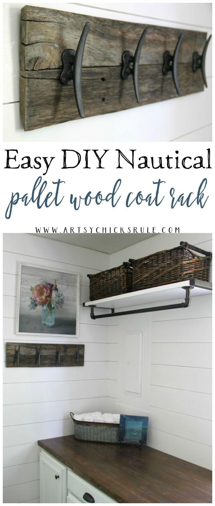 Easy Diy Nautical Pallet Wood Coat Rack Simple Project Nautical Diy Pallet Wood Shelves Wood Pallet Projects