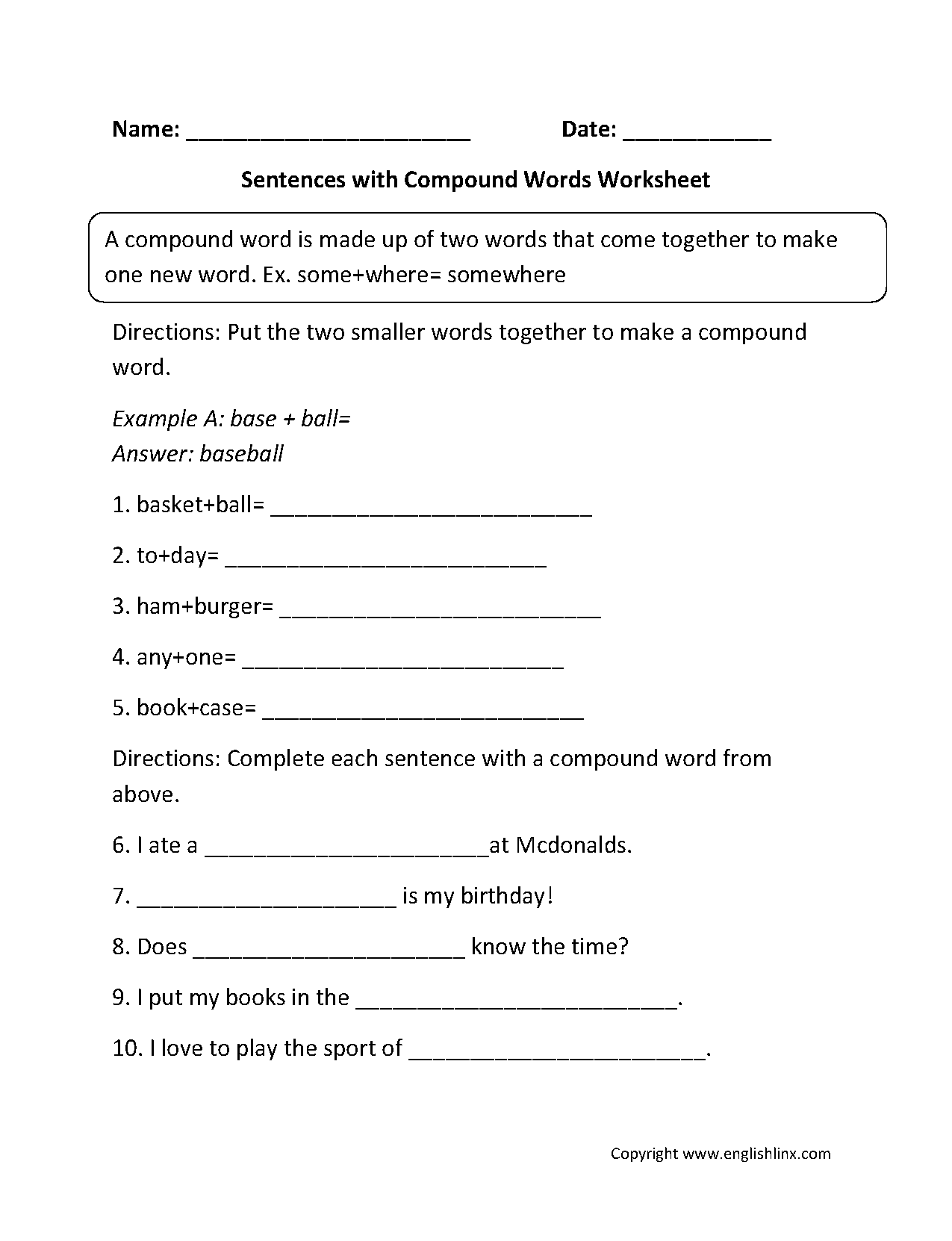 Sentences With Compound Words Worksheets With Images