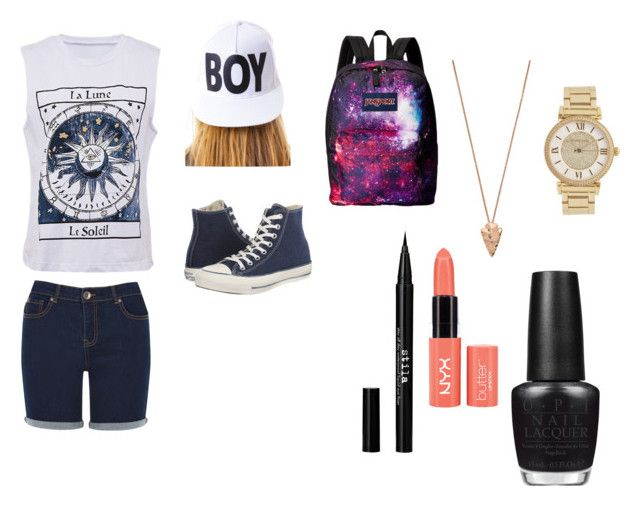 """""""my look for summer"""" by vanillastar26 on Polyvore featuring Oasis, BOY London, Converse, JanSport, Pamela Love, Michael Kors, Stila and OPI"""