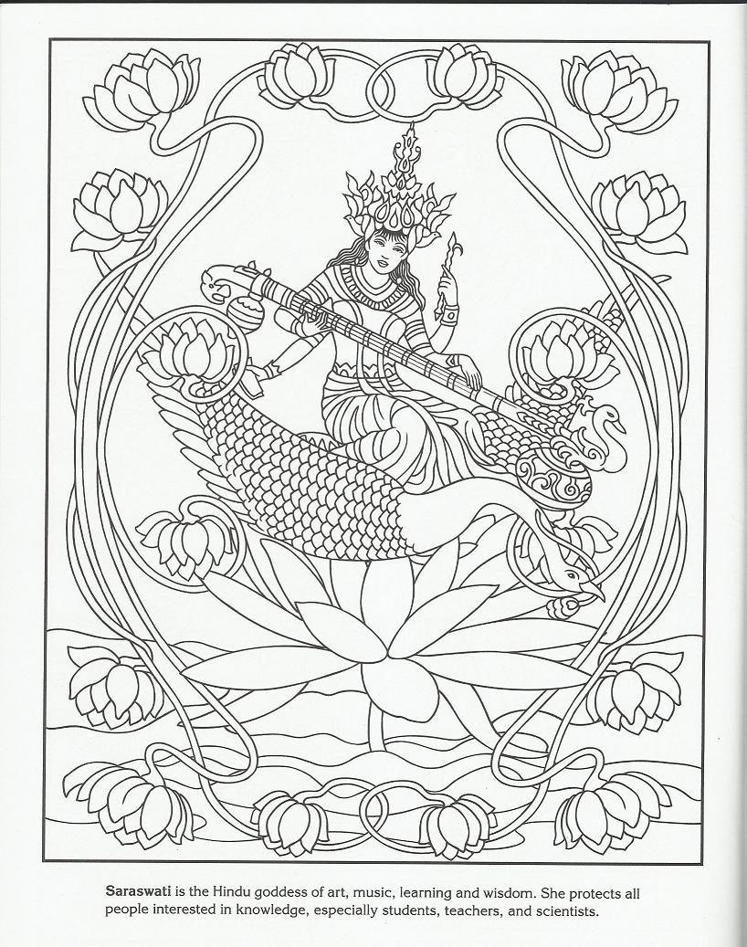 Saraswati | Coloring Pages | Pinterest