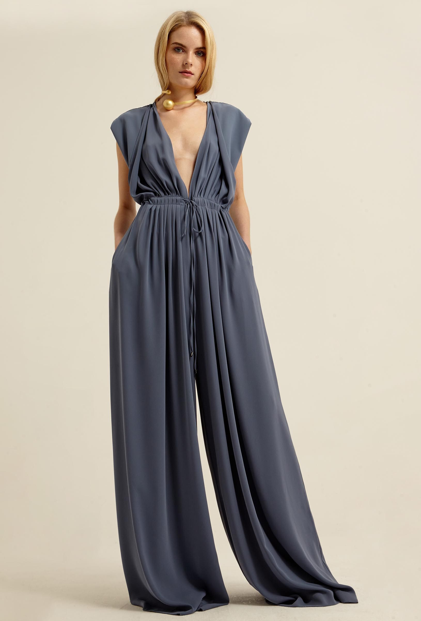 2623887f41a1 Image 3 of AQ AQ Reese Deep Plunge Jumpsuit with High Waist and Wide Legs ·  Slate Blue