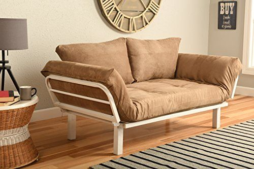 White Metal Frame Small Futon Lounger Furniture For Studio Loft College Dorm Apartments Guest Room Bedroom Covered Patio Sunroom Or Porch Twin Size