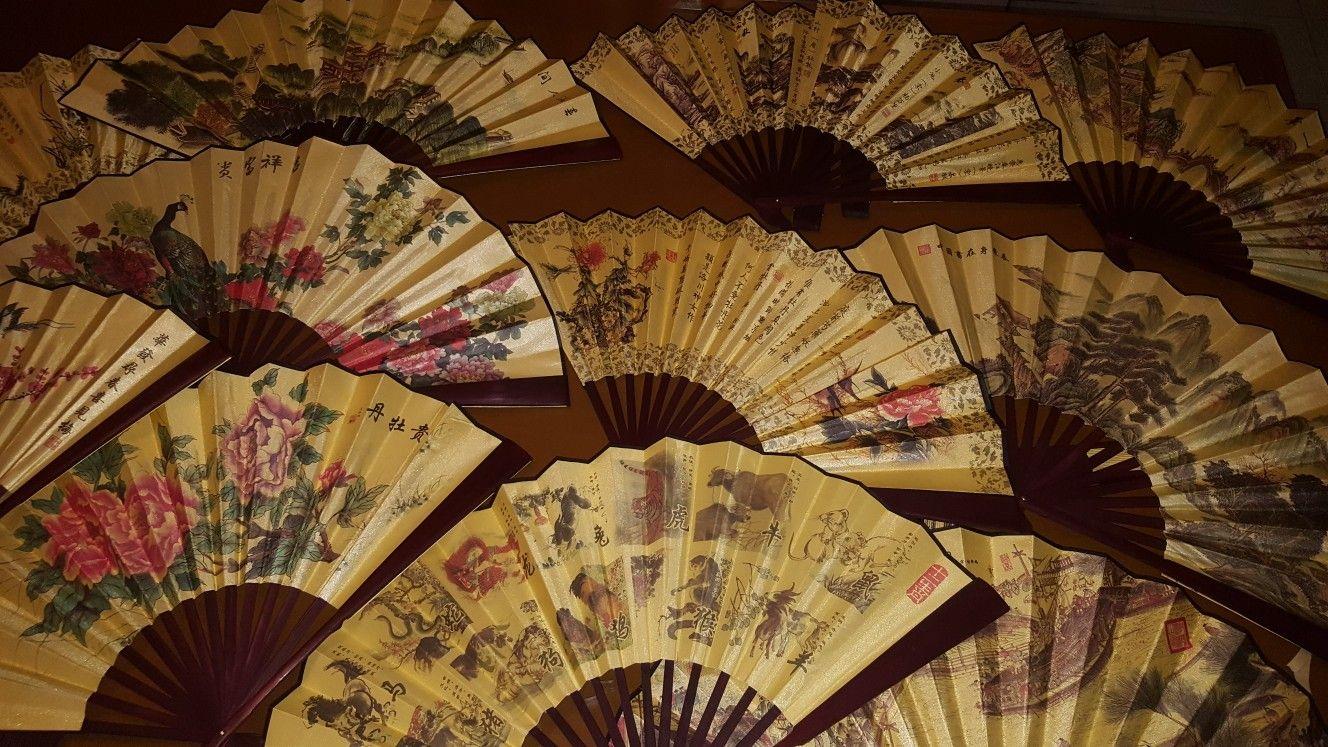 Abanico chino de tela y madera.   Abanico chino, Abanicos ...