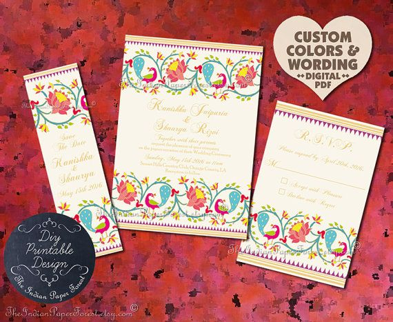 Diy Printable Wedding Invitation Set Suite Pdf Paithani Lotus Peac Diy Printable Wedding Invitations Printable Wedding Invitations Wedding Invitation Templates