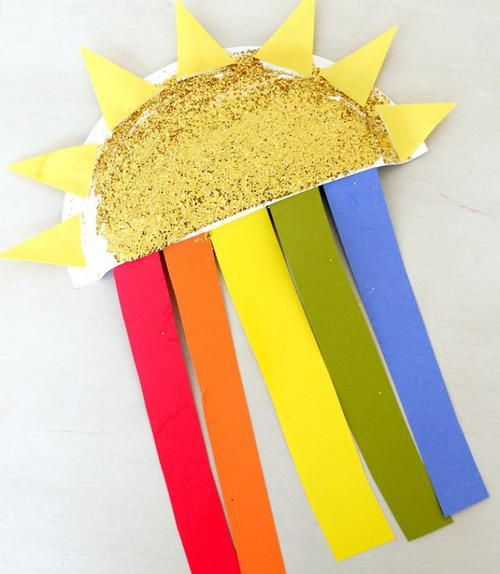 Sun And Rainbow Paper Plate Craft Paper Plate Crafts Summer