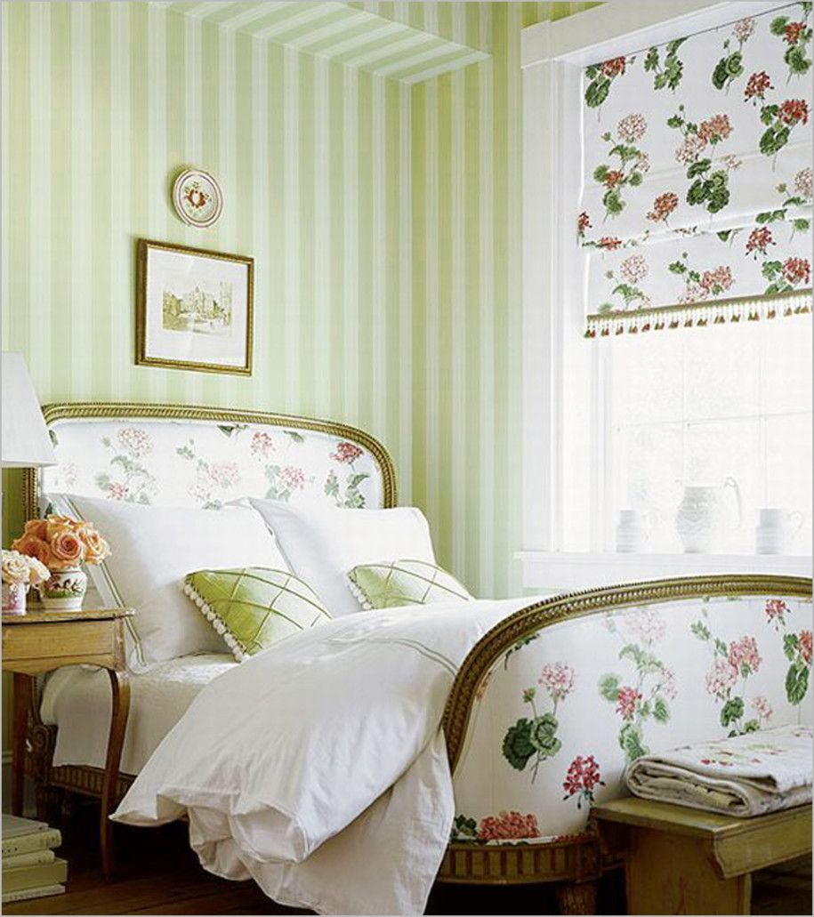 French country decorations for elegant interiors green for Striped bedroom walls