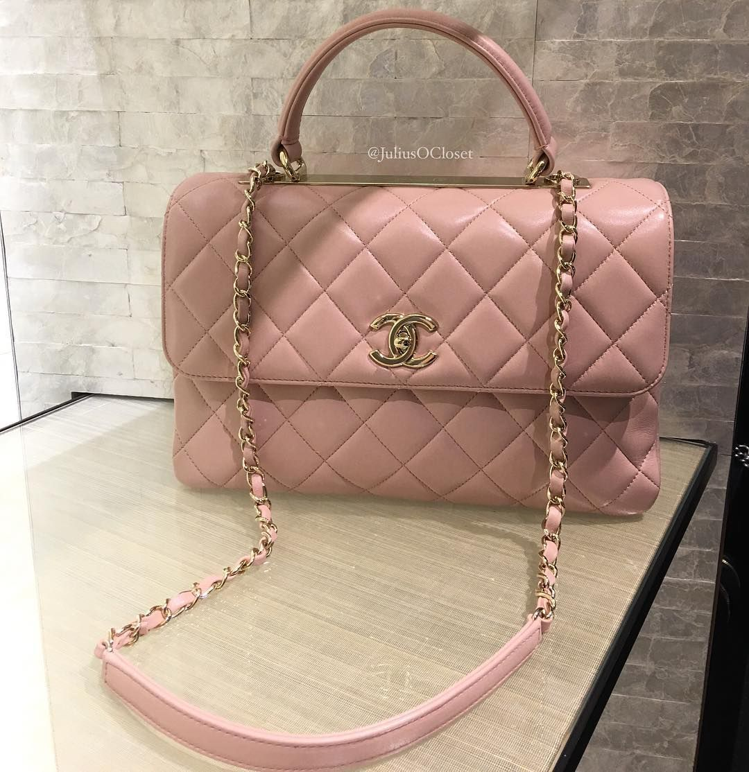 274e7bc7b50a Chanel 'Trendy CC' Flap Bag with Top Handle. Medium Size in Light Pink  Lambskin Leather .