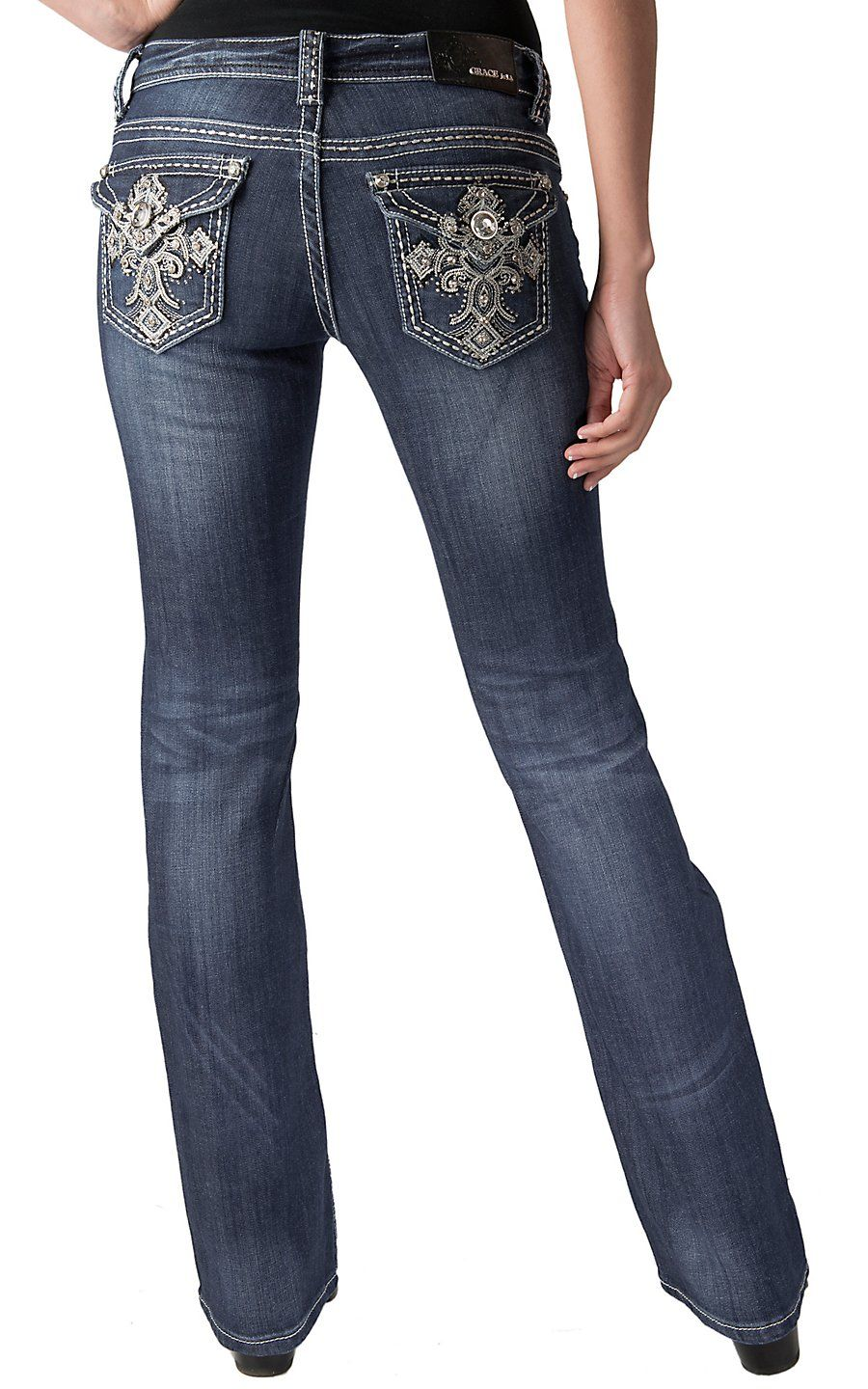 1b71c92e2b Grace in LA® Women s Metallic Embroidered Celtic Cross with Crystals Flap  Pocket Boot Cut Jean- Plus Sizes