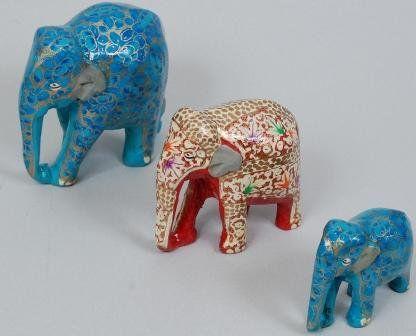 Blue elephant home décor/Handmade Handpainted Lacquered Papier Mache/Christmas stocking fillers//PapierMache/Walnut wood Elephant/SET OF 3 on Wanelo