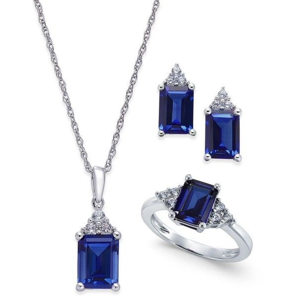 Lab-Created Blue Sapphire (5 ct. t.w.) and White Sapphire (3/8 ct. ($300) ❤ liked on Polyvore featuring jewelry, silver, white sapphire jewelry, pendant necklace, sterling silver pendant necklace, set jewelry and blue sapphire jewelry set