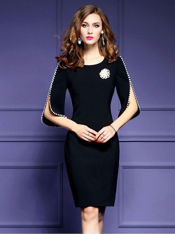 Stylish O-Neck Half Sleeve Bodycon Dress | zapatos y moda casual y ...