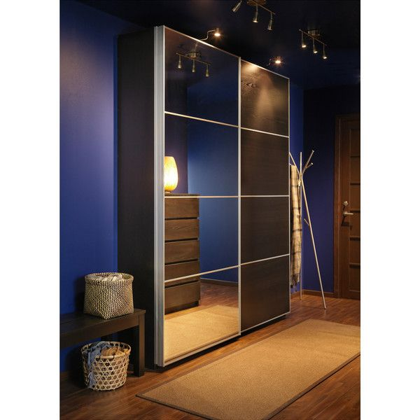 Ikea pax wardrobe with interior organizers black brown auli ilseng brl liked on for Ikea armadio 2 ante