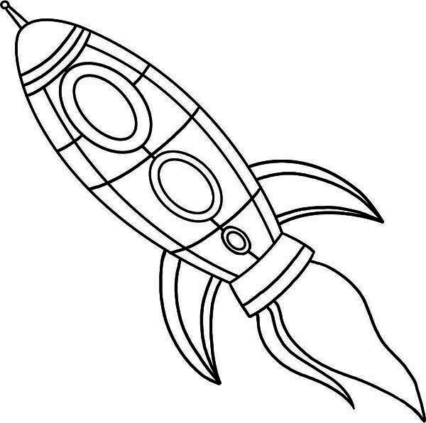 Rocket Ship Fire Blast Coloring Page
