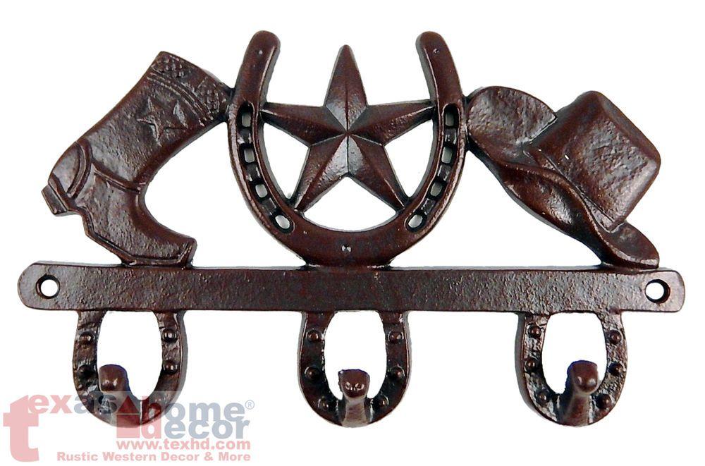 Rustic Cast Iron Western Texas Star Horse shoe Wall Towel Coat Hat Hook Hanger