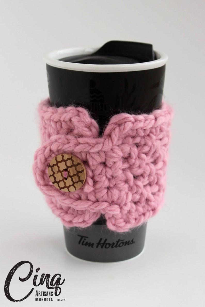 Chunky Moss Stitch Coffee Cozy, Crochet, Knit, Coffee Cup ...