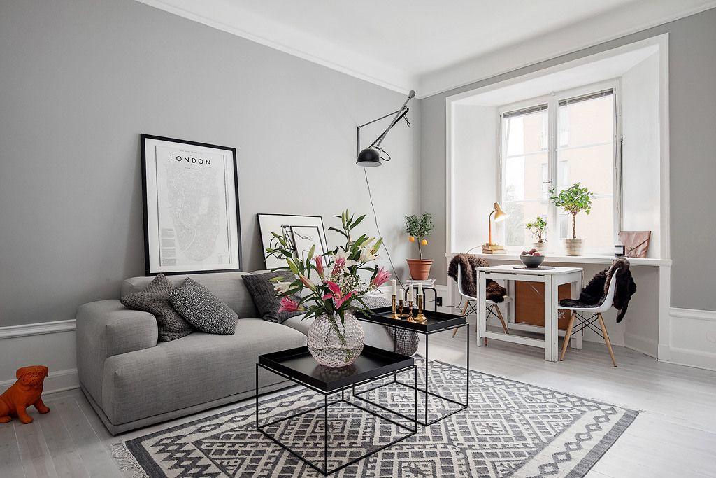 Piso peque o con paredes grises paredes grises piso for Salas espacios pequenos