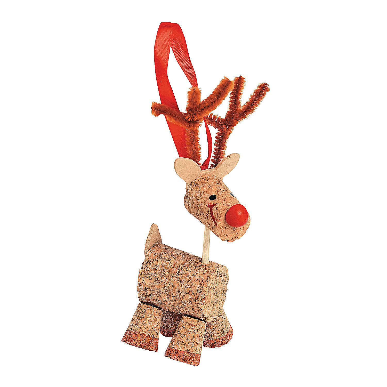 Reindeer christmas ornaments - Cork Reindeer Christmas Ornament Craft Kit Orientaltrading Com