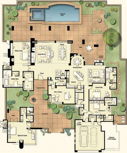 Tucson custom home hacienda floor plan haciendas for Tucson house plans