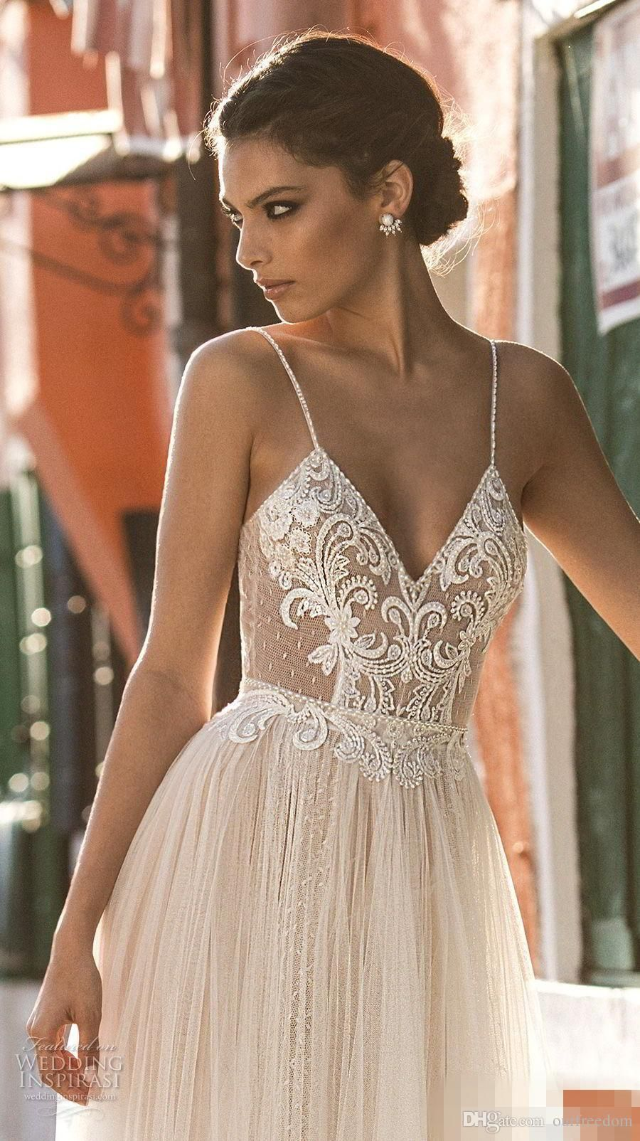 4178a87e69cd7 2018 New Sexy Gali Karten Garden Beach Wedding Dresses Sleeveless Spaghetti  Straps Robe De Soiree Backless Long Boho Brdial Gowns