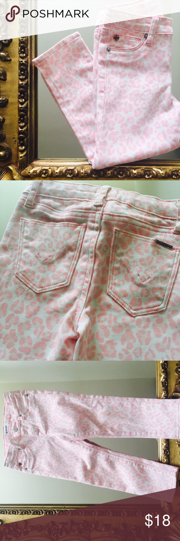 The CUTEST Hudson Toddler Skinnies Ever!!! Pink leopard print skinnies by Hudson. 3t, true to size!!! These have a good bit of stretch. Hudson Jeans Bottoms