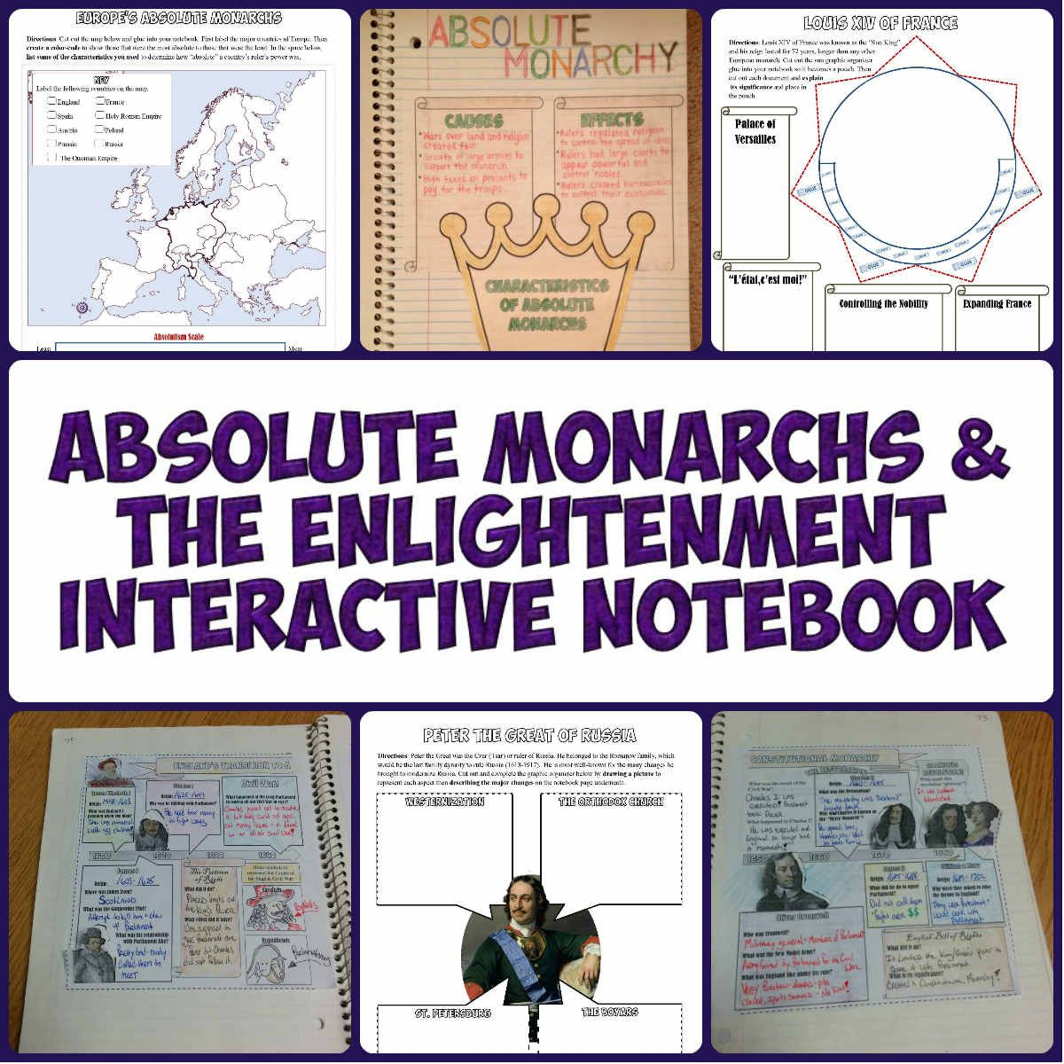 Absolute Monarchs And Enlightenment Interactive Notebook History