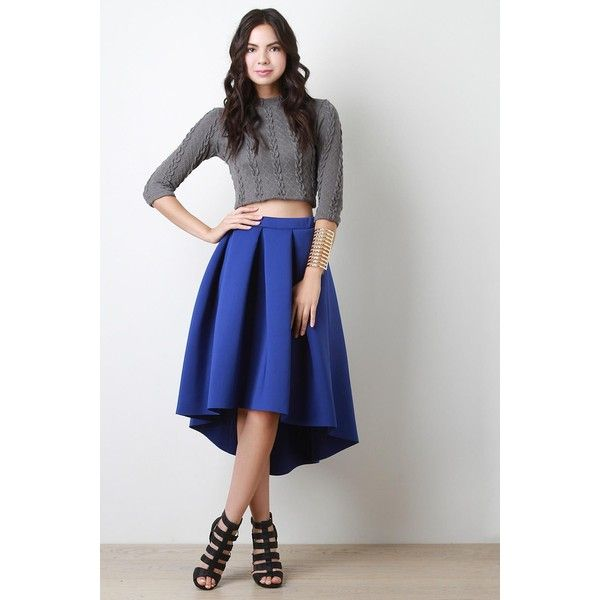 Scuba Pleated High-Low Midi Skirt ($46) ❤ liked on Polyvore ...