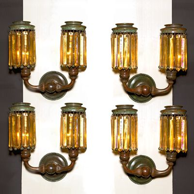 Tiffany Studios New York Double Arm Prism Wall Sconces A