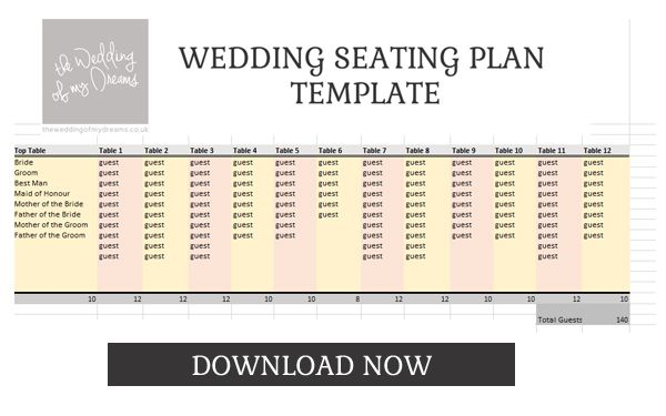 Wedding Seating Plan Template Planner Free And