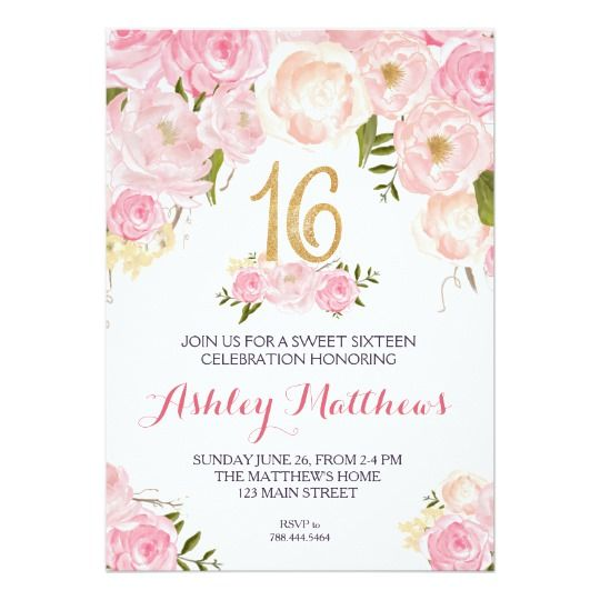 Sweet Sixteen 16 Birthday Floral Invitation Card