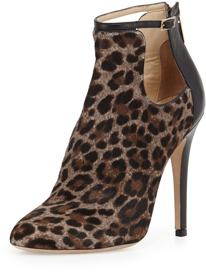 bfe2c712457 Jimmy Choo Luther Leopard-Print Cutout Calf Hair Bootie