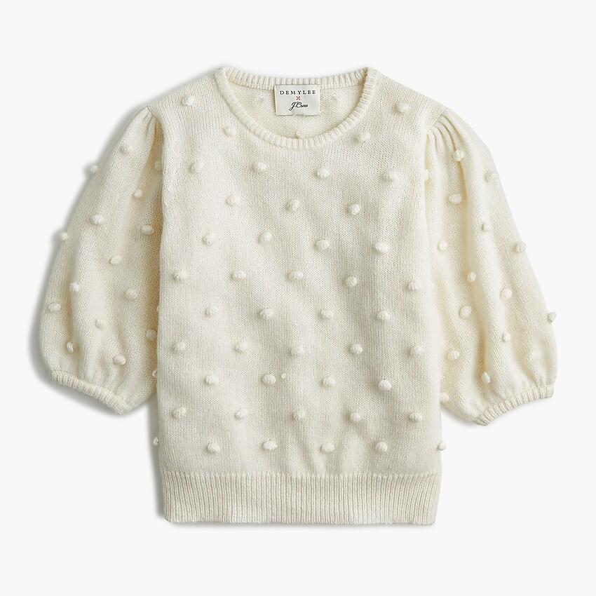 J.Crew: DEMYLEE® X J.Crew Puff sleeve Pom pom Sweater | Pom