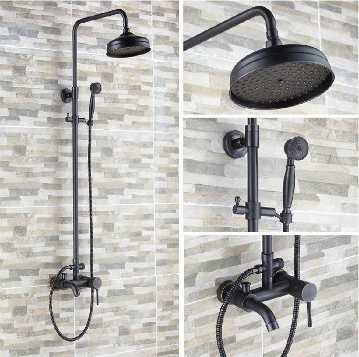 """Oil+Rubbed+Bronze+Bathroom+8""""+Rain+Shower+Set+Faucet+Bathtub+Shower+Mixer+Tap+#bestfaucet"""