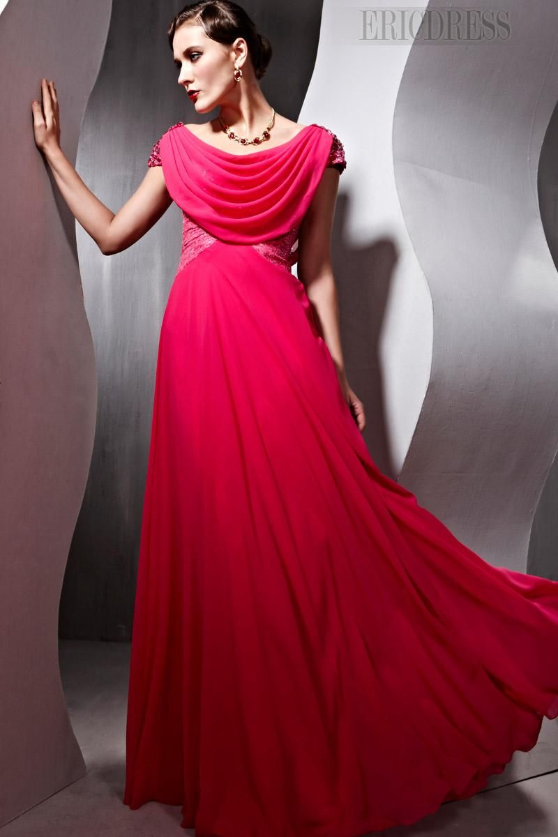 Charming aline short sleeves floorlength evening party dress